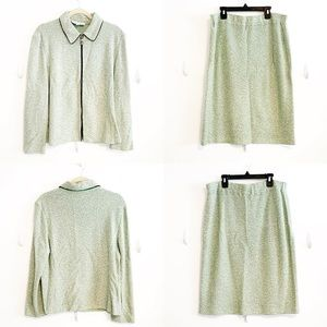 St. John Collection Green Skirt and Jacket Set